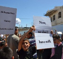 Palestine: Orphans protest demolition of Dairy factory by Israeli forces