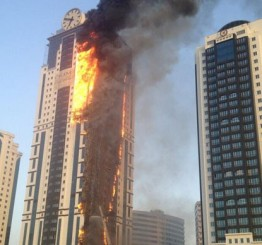 Luxury skyscraper hotel completely engulfed by fire in Grozny, Chechnya