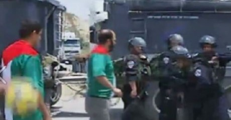 Palestine: Israeli soldiers attack Palestinians holding mock soccer match infront of Ofer Prison