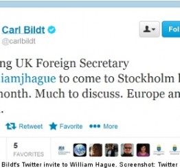 Sweden: Hague and Bildt book meeting via Twitter